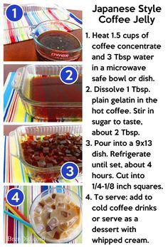 BrenDid Coffee Jelly Tutorial - It's bubble coffee (instead of bubble tea! Jelly Recipes, Tea Recipes, Coffee Recipes, Cooking Recipes, Dessert Recipes, Drink Recipes, Recipies, Iced Coffee Drinks, Coffee Dessert