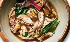 Nigel Slater's chicken broth, noodles and greens Earmarking my frozen drumsticks for this