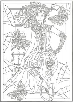From Creative Haven Steampunk Fashions Coloring Book Dover