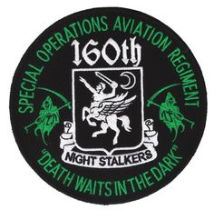 """Special Operations Aviation Regiment SOAR Night Stalkers """"Death Waits In The Dark"""" Military Patch: Special Operations Aviation Regiment """"Death Waits In The Dark"""" Night Stalkers. Great looking patch. Perfect to add to any collection! Air Force Special Operations, Special Operations Command, Us Special Forces, Special Ops, Military Units, Military Life, Army Life, Boy Scout Patches, Us Army Rangers"""