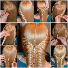 Here is a nice tutorial on how to make a beautiful braided hairstyle. This romantic hairstyle starts with two braids on the sides and then connects with the center one to form a thicker braid. If you have medium or long hair and like braided hairstyle, de Romantic Hairstyles, Box Braids Hairstyles, Pretty Hairstyles, Wedding Hairstyles, Perfect Hairstyle, Simple Hairstyles, Hairdos, Hairstyles Pictures, Maquillage Yeux Cut Crease