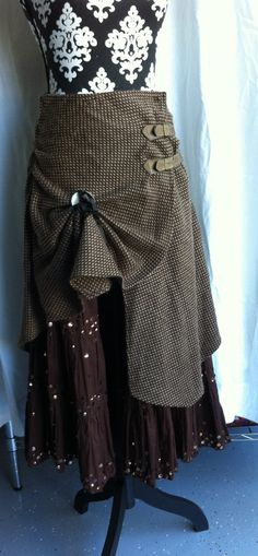 SOLD. Upcycled Steampunk gypsy  bohemian double layer  gathered up front, buckle closure on Etsy, $50.00 CAD