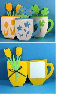 Creatief met papier. Een potje met bloemen en een persoonlijke boodschap ernaast!