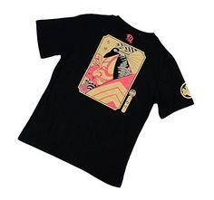 POJ Japanese Kabuki T-shirt Front and Back Print [ M / L / XL / XXL Color Black for Men ] (XXL)