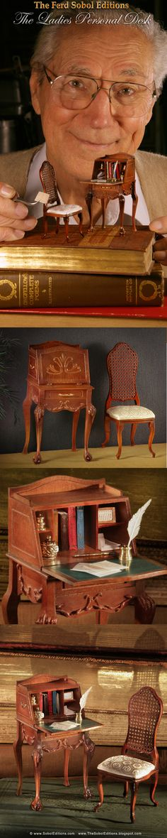 The Ladies Personal Desk by The Ferd Sobol Editions is an homage to the long distance correspondence between a young fighter pilot and the school teacher who later became his wife. Each desk comes with a miniatured copy of an actual love letter. The desk features a fall front drop top with inside cubby compartments. Cabriole legs are graced by acanthus draped knees and ball and claw feet. http://thesoboleditions.blogspot.com/2013/03/the-desks-by-ferd-sobol-editions.html