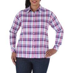 Chic Women's Plus-Size Comfort Collection Plaid Shirt, Size: 1XL