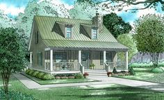 Great things do come in small packages! This rustic country cottage (Plan has 1400 sq ft of living space. The floor plan includes 2 bedrooms. Small Cottage House Plans, Small Cottage Homes, Cabin House Plans, Southern House Plans, Cottage Plan, Craftsman Style House Plans, Country House Plans, Cottage Style, Small Country Homes