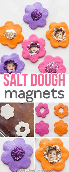 These salt dough flower magnets are the perfect Mothers day gift. Salt Dough Projects and craft activity.