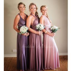 Stunning Goddess By Nature bridesmaids in gorgeous mismatch colour shades that's so on trend right now! From left to right: twilight, mesmerize & dust me pink colours. We being a part of your special day & seeing all your happy smiling pics! Stockist: Just Bridesmaids and Formals  Award winning Australian made luxury collection for bridal, formal and special occasion designer to suit and flatter all different shapes & sizes. Feel the Goddess experience today!