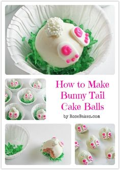 How cute are these Bunny Tail Cake Balls ! You kids will love them and enjoy helping , they are very easy to make . These bunny tail cake balls would Easter Bunny Cake, Easter Treats, Bunny Cakes, Easter Food, Easter Cake Pops, Easter Cupcakes, Easter Party, Cute Easter Desserts, Easter Cookies