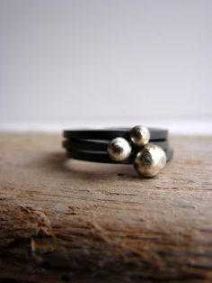 Pebble Ring Oxidized Silver Stacking Rings