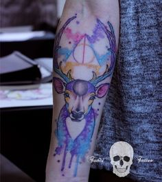 "This watercolor Stag. | 42 Insane ""Harry Potter"" Tattoos Only Muggles Would Hate"