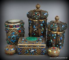 small collection of chinese enamelled silver gilt boxes & canisters