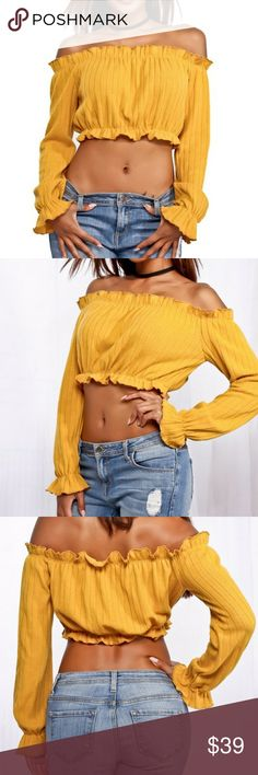 Mustard crop top Details: This top features featuring a sexy crop tops ,off shoulder ,long sleeve, bust measures about 15 inches, and the length measure about 10 inches. Content -85% Polyester -15% Cotton Size: Model Info: Height 5ft 7in | Waist: 27in | Hips: 35in | Bust: 35D Wear Size: L Material Feeling: - Softness: Medium - Stretchy:yes - See Through: NO Tops Crop Tops