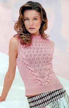 Crochê Tricô: Blusa Rosa em Tricô
