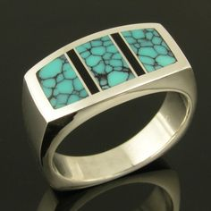 Spiderweb Turquoise Ring with Black Onyx por TheHilemanCollection