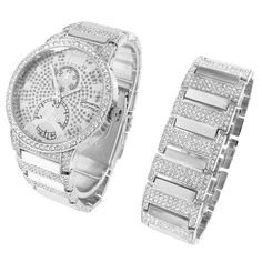 Iced Out Hip Hop Watch Mens Simulated Diamonds Matching Bracelet