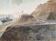 'Coastal Defences' by Eric Ravilious, 1940 (watercolour on paper) Newhaven, East Sussex, Watercolor Techniques, Landscape Paintings, Landscapes, Natural World, Impressionist, Illustrators, Landscape Photography