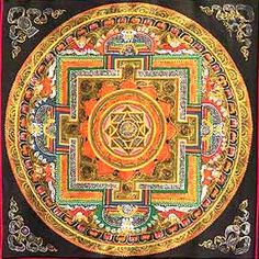 Lotus is the traditional symbol of spiritual transcendence. The eight-pointed star is a symbol of the Eight Fold Path of Buddhism. By following this sacred path, one reaches the Buddha state, depicted here, as in a Dharma Mandala, in the form of an initial syllable placed at the center of the Mandala.