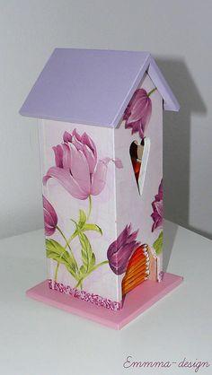 Emmma-design / Domček na čaj. Tulips, Decoupage, Table Lamp, Bird, Outdoor Decor, Handmade, Design, Home Decor, Table Lamps