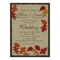 ==>>Big Save on          Rustic Leaves and Burlap Wedding Invitation           Rustic Leaves and Burlap Wedding Invitation online after you search a lot for where to buyShopping          Rustic Leaves and Burlap Wedding Invitation Here a great deal...Cleck Hot Deals >>> http://www.zazzle.com/rustic_leaves_and_burlap_wedding_invitation-161243524812096347?rf=238627982471231924&zbar=1&tc=terrest