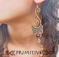 Tribal Pixie Earrings in Macrame and Brass Wire with Red Tiger EYE Stone and Brass Beads TRIBAL Jewelry