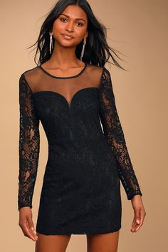 Let love come to you in the Lulus Waiting for Your Love Black Lace Bodycon Mini Dress! Mesh illusion neckline tops this long sleeve mini dress with lace detail. Dresses For Teens, Club Dresses, Dresses Online, Cute Clubbing Outfits, Black Satin Mini Dress, Petite Fashion Tips, Body Con Skirt, Mod Dress, Long Sleeve Mini Dress