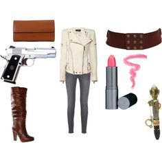 """This chic has put together outfit sets inspired by the various doctors, companions, and characters of doctor who... pretty fantastic! This is River!  """"River Song (Casual)"""" by doctorwhofashion on Polyvore"""
