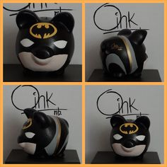 Batman Oink mb alcancias hechas a  mano Batman, New Hobbies, Piggy Bank, Ceramics, Mugs, Tableware, Kid Stuff, David, Themed Parties