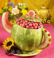 """adorable fruit bowl for a """"tea party"""" themed birthday party"""