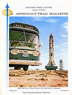 Cape Area Image of the Day - Tourist magazine from early 1969 showing KSC / NASA Tours bus at Complex 39 during Apollo 9 Saturn V rollout. www.retrospaceimages.com Apollo Space Program, Nasa Space Program, Apollo 9, Apollo Missions, Kennedy Space Center, Retro Images, Space Race, Man On The Moon, Moon Landing