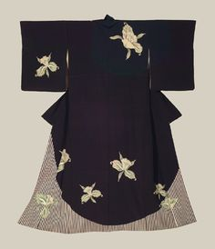 Late meiji Kimono, Late Meiji (1880-1911). An unusual silk antique kimono that combines both modern and traditional design elements, and features bold green narcissuses and bold striping. The Kimono Gallery
