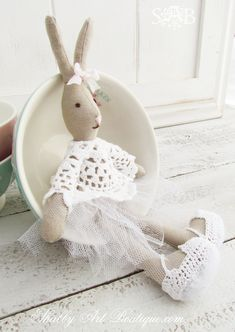 Shabby Art Boutique - my homemade version of a look-a-like Maileg Bunny.