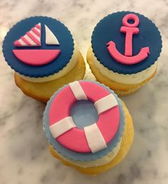Girly, nautical cupcakes from The Cupcake Shoppe in Raleigh. Nautical Cupcake, Nautical Party, 1st Birthday Parties, Girl Birthday, Birthday Ideas, Love Cupcakes, Celebration Cakes, Let Them Eat Cake, Beautiful Cakes