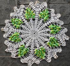 Vintage Hand Crocheted Doillie Ecru w/Green by JustNeedlework, $14.00