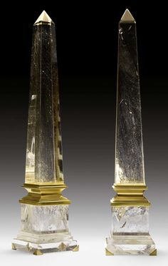 PAIR OF ROCK CRYSTAL OBELISKS, Louis XVI style, probably Italy. Rock crystal and gilt bronze - Dim: H 66 cm.
