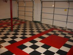 Floor Design, : Fetching Garage Decoration Design With Black And White Red Checkered Race Deck Garage Floor Tile