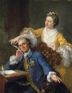 David Garrick with his Wife Eva-Maria Veigel, William Hogarth, 1757-1764. Painted for Garrick, but refused by him. Damaged by Hogarth after whose death it was repaired; presented by Mrs H to Mrs G;artist and sitter quarrelled over this portrait. Garrick was displeased with his likeness and there are signs that Hogarth scored through the eyes. Although Garrick paid 15 pounds for the painting in 1763, it was in Hogarth's studio at the time of the artist's death in the following year.