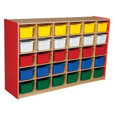 Wood Designs 30 Tray Colors Storage Strawberry Red - Without Bins Bin Color - WD16039R