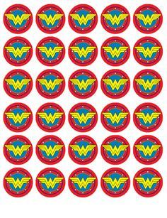 GBP - Wonder Woman Logo Birthday Wafer Cupcake Fairy Cake Toppers Decorations X 30 & Garden Wonder Woman Cake, Wonder Woman Party, Wonder Woman Logo, Wonder Woman Birthday Cake, Furniture Logo, Baby Furniture, Anniversaire Wonder Woman, Superhero Party, Unicorn Party