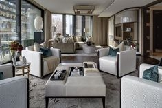 Luxury interior design of cityside apartment in One Hyde Park Knightsbridge, London. It features curated artwork, dressing and accessorizing.