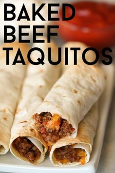 Your family will love these easy baked beef taquitos. These beef taquitos are an easy meal, and no one can resist a delicious taquito. Mexican Dishes, Mexican Food Recipes, New Recipes, Cooking Recipes, Favorite Recipes, Ethnic Recipes, Yummy Recipes, Cooking Ideas, Steak Recipes