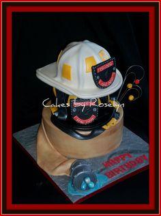 Fireman helmet themed cake Firefighter Cakes, Firefighter Room, Fireman Cake, Female Firefighter, Cupcake Ideas, Cupcake Cakes, Cupcakes, Birthday Cakes For Men, Cakes For Boys