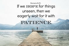 Please, Lord, give us great patience as we hope in You not only for earthly blessings, but also for Your return. #hopeinthelord #patience #godisgood #waituponthelord