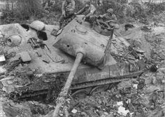 A panther tank that was destroyed during the bombing during Operation Cobra July 1944