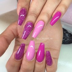 Pink + Fuchsia + Purple Glitter. Long coffin nails. #nail #nailart
