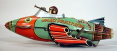 This Rocket Police Patrol Ship toy from 1934, merchandise for the popular space-based adventure series Buck Rogers.