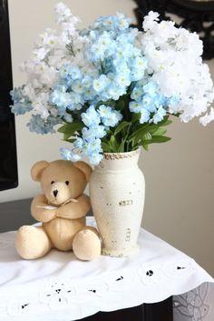 baby shower decor. shower flower, shower babi, babi boy, shower idea, blue flower, adopt parti, babi shower, heavens, baby showers