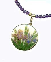 IRIS- Satsuma pendant & Amethyst Necklace. An antique Japanese Satsuma ceramic button with delicate handpainted purple and blue irises is used as a pendant in this elegant necklace. Faceted amethyst beads, vermeil spacers and clasp.