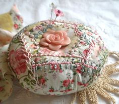 embroidered pincushions | Design Your Own Crazy Quilt Embroidered Pincushion- Made to Order